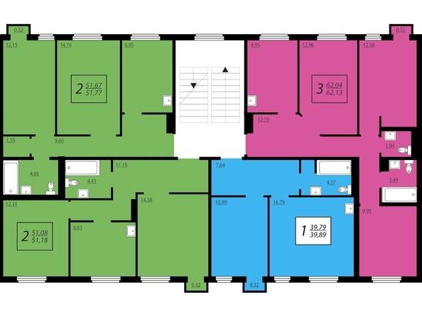 Планировки Жилой комплекс ЖИВЁМ эко-район, 2 квартал, дом 2 - Дом №1. Секция №4. 2 - 4 этажи