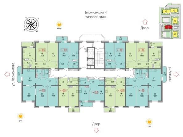 Планировки Жилой комплекс АТМОСФЕРА, б/с 4 - Планировка типового этажа