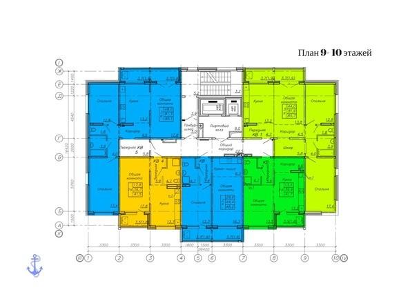 Планировки Жилой комплекс АДМИРАЛЪ ж/к, 88 - Планировка 9-10 этажей