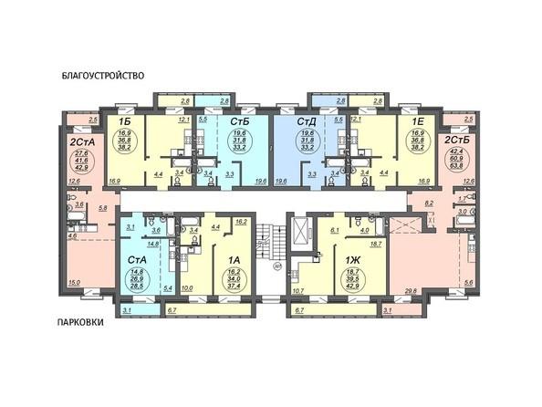 Планировки Жилой комплекс СВОБОДА, дом 5 - Подъезд 1. Планировка 3 этажа