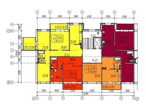 Планировки Жилой комплекс Павловский тракт, 305г - Планировка 3-10 этажей, 6 б/с