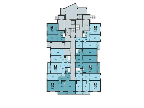 Планировки Жилой комплекс Светлогорский пер, 1 дом, 1 стр - Планировка 1 этажа