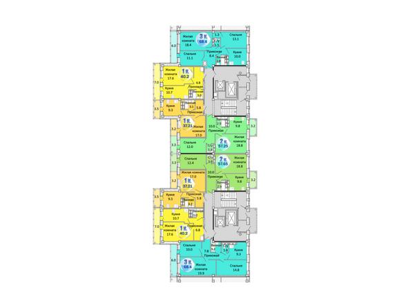 Планировки Жилой комплекс АТЛАНТЫ - Блок-секция 2. Планировка 3-9 этажей