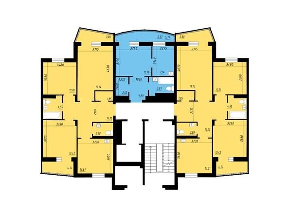 Блок-секция 2. Планировка 2, 4 этажей
