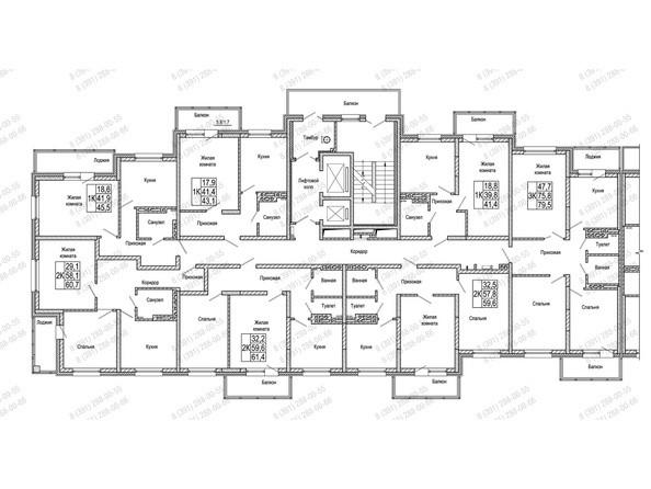 Планировки Жилой комплекс КОМСОМОЛЬСКИЙ  - Блок-секция 2. Планировка 3-10 этажей