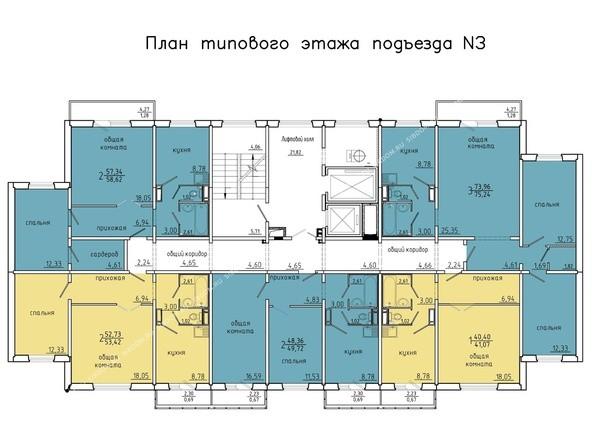 Планировки Жилой комплекс Покровский, 3 мкр, дом 4 - 3 подъезд, 2-14 этажи