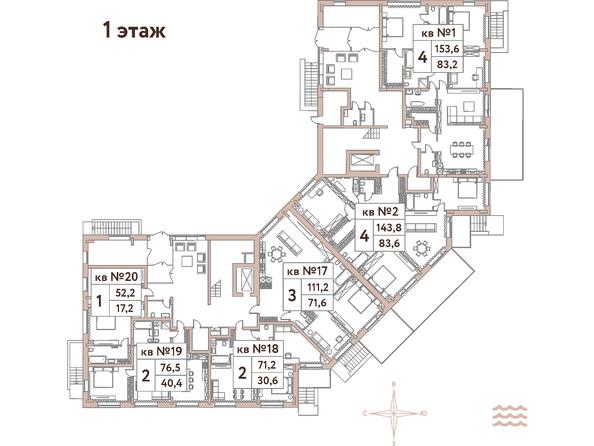 Планировки Жилой комплекс Эко-квартал Flora&Fauna (Флора и Фауна), блок Д - Планировка 1 этажа