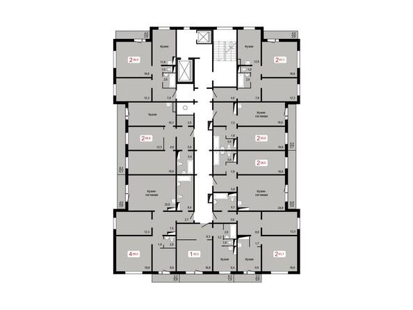 Планировки Жилой комплекс ЛЕСНОЙ МАССИВ, дом 1, стр 8 - Планировка 6-9 этажей