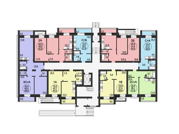 Планировки Жилой комплекс СВОБОДА, дом 6 - Подъезд 3. Планировка 1 этажа
