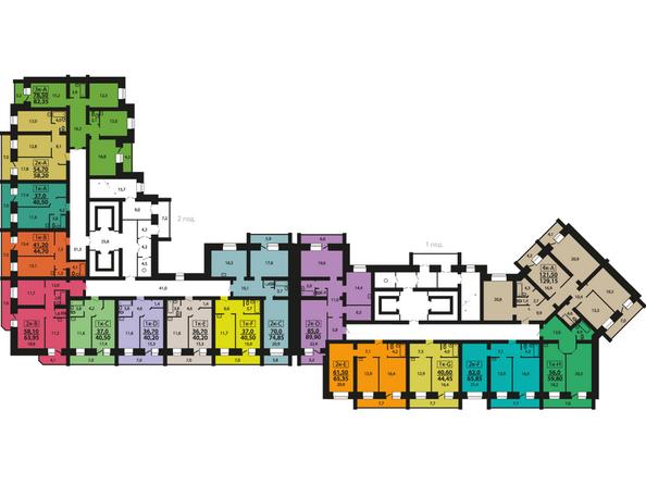 Планировки Жилой комплекс ЭДЕЛЬВЕЙС ж/к, дом 8 - Планировка 2-7 этажей