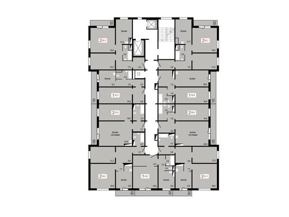 Планировки КУРЧАТОВА, дом 9, стр 1 - Планировка 17 этажа