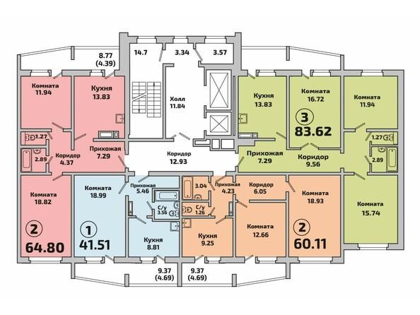 Планировки Жилой комплекс РОДНИКИ, дом 2 - Подъезд 1. Планировка типового этажа