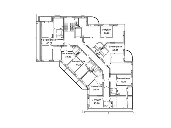 Планировки Жилой комплекс ВЕСЕННИЙ, Заречная 21, дом 2 - Блок-секция 2. Планировка 7-9 этажей