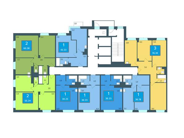 Планировки Жилой комплекс ПРЕОБРАЖЕНСКИЙ, дом 13 - Подъезд 2. Планировка 2 этажа