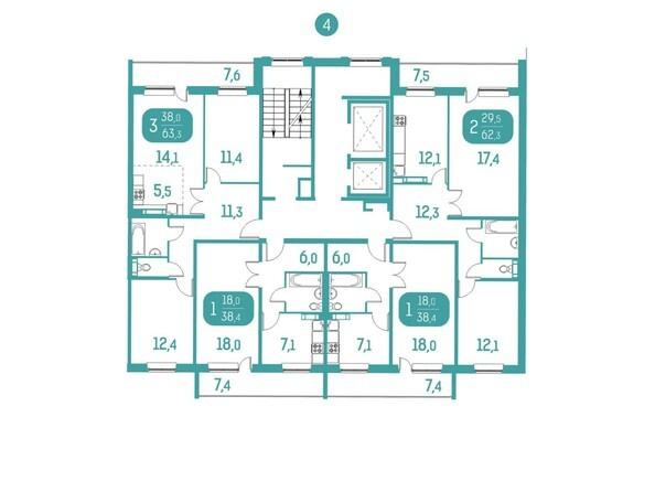 Планировки Жилой комплекс АКВАМАРИН, дом 10 - Блок-секция 4. Планировка типового этажа