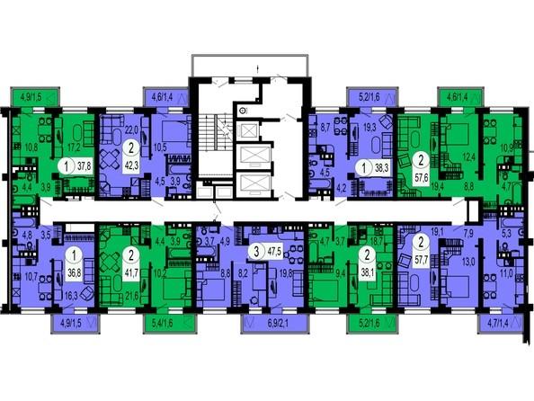 Планировки Жилой комплекс ТИХИЕ ЗОРИ, дом 1 (Красстрой) - Блок-секция 2. Этажи 2-19