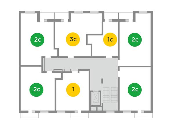 Планировки Жилой комплекс ЯСНЫЙ БЕРЕГ, дом 10, б/с 1-3  - Блок-секции 2 и 3. Планировка типового этажа