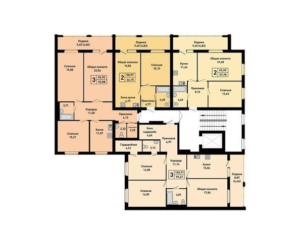 Планировки Жилой комплекс ДРУЖНЫЙ-3, дом 15 - Подъезд 4. Планировка 1 этажа