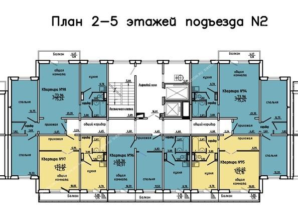 Планировки Жилой комплекс Иннокентьевский, 3 мкр, дом 3 - 2 подъезд, 2-5 этажи