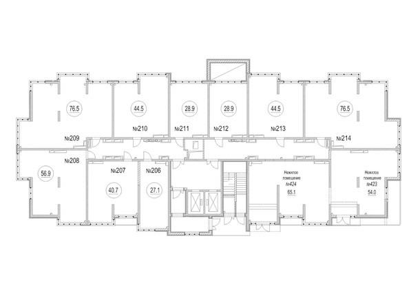 Подъезд 2. Планировка типового этажа