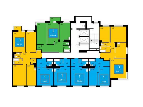 Планировки Жилой комплекс ПРЕОБРАЖЕНСКИЙ, дом 11 - Подъезд 2. Планировка 2 этажа