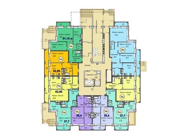 Планировки Жилой комплекс ВОЛНА, дом 1 - Планировка 1-го этажа