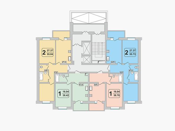 Блок-секция 2-1. Планировка 2 этажа