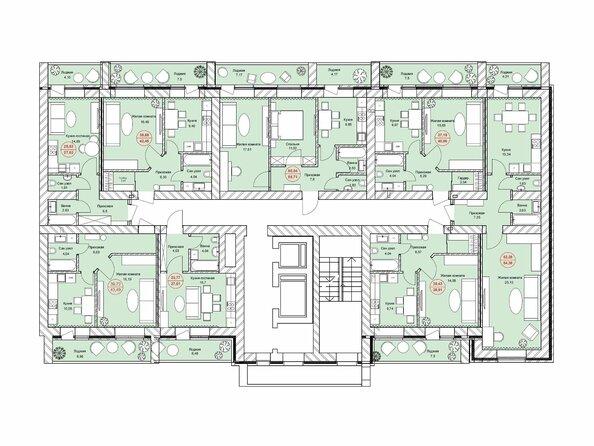Планировки Жилой комплекс ЛЮБИМЫЙ, дом 7 - Подъезд 2. Планировка 12-14 этажей