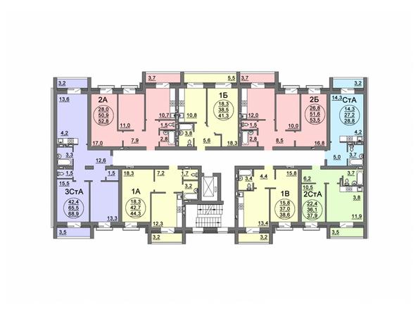 Планировки Жилой комплекс СВОБОДА, дом 8 - Подъезд 3. Планировка 2,4 этажей