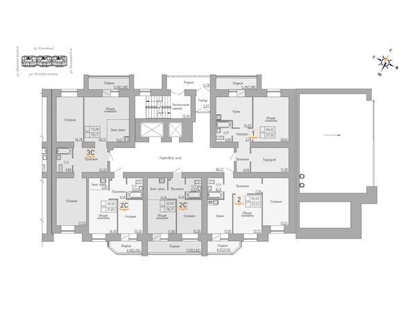 Блок-секция 1. Планировка 3-5 этажей