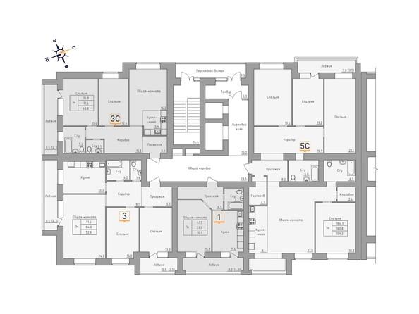 Планировки Жилой комплекс ДВЕ ЭПОХИ, корпус 3 - Планировка 15-16 этажей, 1 б/с