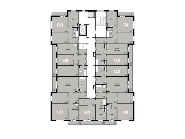 Планировки Жилой комплекс ЛЕСНОЙ МАССИВ, дом 1, стр 8 - Планировка 10-16 этажей