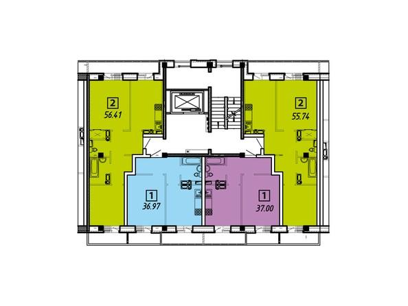 Планировки Жилой комплекс ПРИБРЕЖНЫЙ, дом 6 - Подъезды 3. Планировка типового этажа
