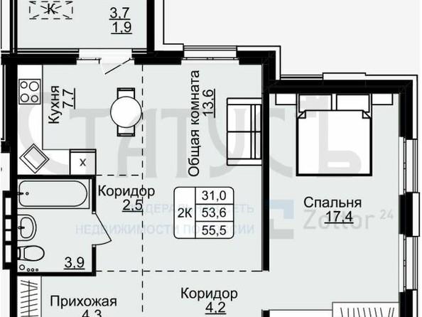 Продам 2-комнатную, 55.5 м², . Фото 1.